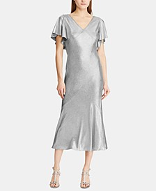 Flutter-Sleeve Shimmer Dress