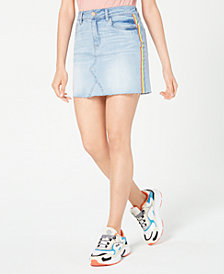Dollhouse Juniors' Rainbow-Stripe Denim Mini Skirt