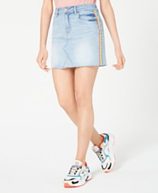 Dollhouse Juniors' Rainbow-Stripe Denim Mini Skirt