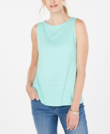 Charter Club Textured Cotton Tank Top, Created for Macy's