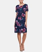 4e78d7e4 SL Fashions Tiered Floral-Print Sheath Dress