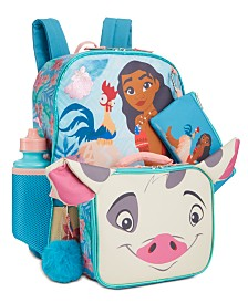 Accessory Innovations Little & Big Girls 5-Pc. Moana Graphic Backpack Set