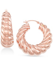 Diamond Accent Twist Hoop Earrings, Created for Macy's