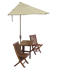 Blue Star Group TERRACE MATES® 5-Pc. Asian Hardwood Dining Sets with OFF-THE-WALL BRELLA