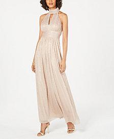 Jessica Howard Metallic Leopard-Print Halter Gown