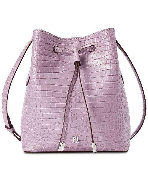 Lauren Ralph Lauren Dryden Mini Debby II Leather Drawstring Bag