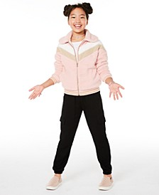 Big Girls Chevron Jacket, Cold-Shoulder T-Shirt & Cargo Jogger Pants, Created for Macy's