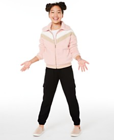 Epic Threads Big Girls Chevron Jacket, Cold-Shoulder T-Shirt & Cargo Jogger Pants, Created for Macy's