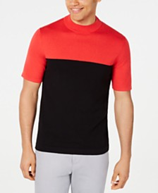 Alfani Men's Colorblocked Short Sleeve Sweater, Created for Macy's