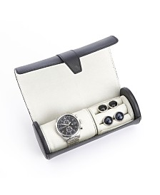 Royce New York Suede Lined Travel Watch Cufflink Roll