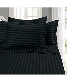 Elegant Comfort 6-Piece Luxury Soft Stripe Bed Sheet Set Queen