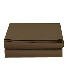 Elegant Comfort Silky Soft Single Flat Sheet Twin Brown