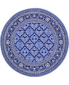 Aldrose Ald2 Blue 6' x 6' Round Area Rug