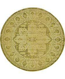 Sana San6 Yellow 8' x 8' Round Area Rug