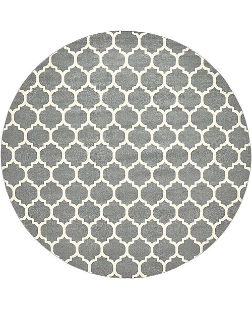 "Bridgeport Home Arbor Arb1 Dark Gray 12' 2"" x 12' 2"" Round Area Rug"