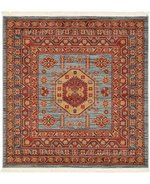 Bridgeport Home Harik Har1 Light Blue 4' x 4' Square Area Rug