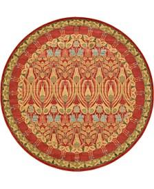 Orwyn Orw3 Red/Tan 8' x 8' Round Area Rug