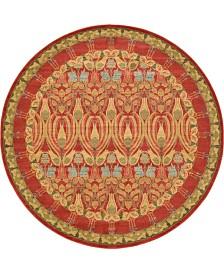 Bridgeport Home Orwyn Orw3 Red/Tan 8' x 8' Round Area Rug