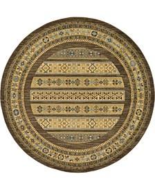 Ojas Oja4 Brown 6' x 6' Round Area Rug