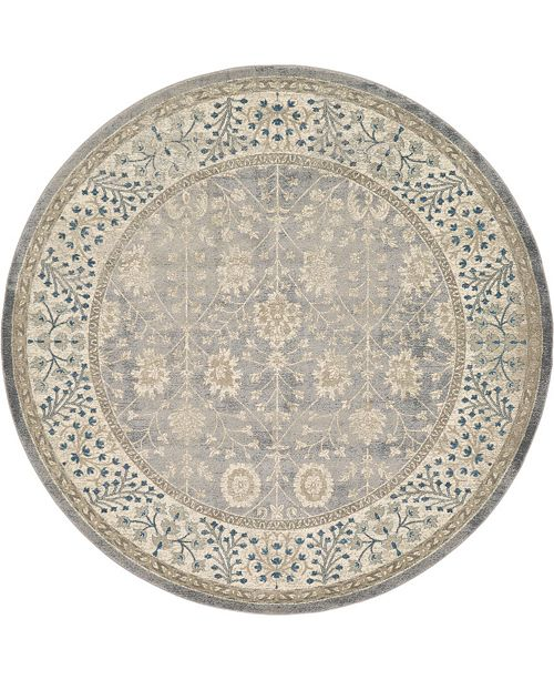 Bridgeport Home Bellmere Bel3 Gray 8' x 8' Round Area Rug