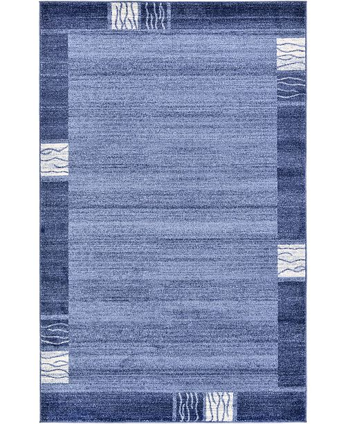 Bridgeport Home Lyon Lyo1 Navy Blue 5' x 8' Area Rug
