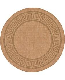 Pashio Pas6 Light Brown 6' x 6' Round Area Rug