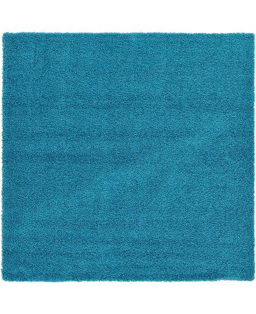 "Bridgeport Home Exact Shag Exs1 Turquoise 8' 2"" x 8' 2"" Square Area Rug"