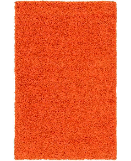 Bridgeport Home Exact Shag Exs1 Tiger Orange 5' x 8' Area Rug