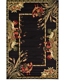 Roost Roo1 Black 6' x 9' Area Rug