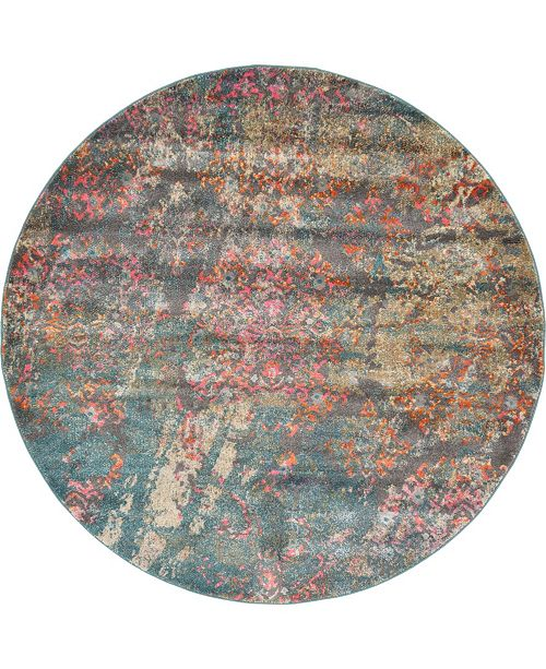 Bridgeport Home Aroa Aro2 Teal 6' x 6' Round Area Rug