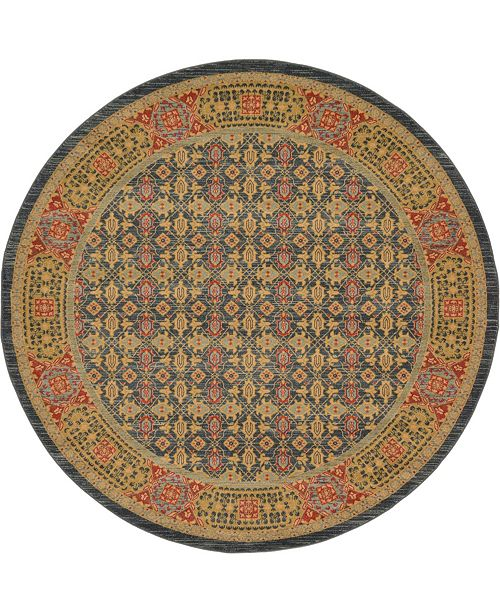 Bridgeport Home Wilder Wld7 Navy Blue 8' x 8' Round Area Rug