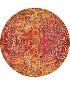 Newwolf New3 Red 6' x 6' Round Area Rug