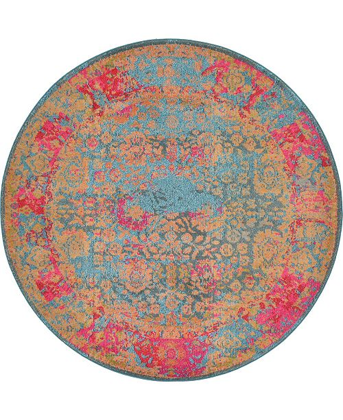 Bridgeport Home Sana San8 Blue 6' x 6' Round Area Rug