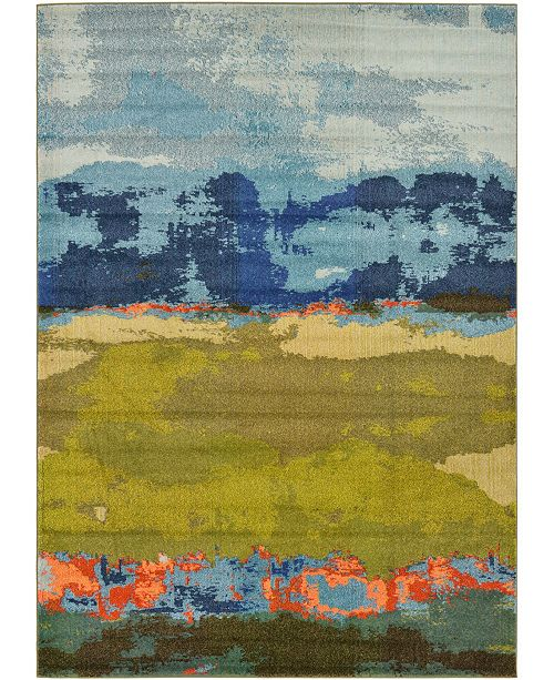 Bridgeport Home Newwolf New5 Blue 7' x 10' Area Rug