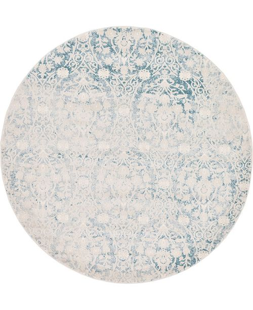 Bridgeport Home Norston Nor5 Light Blue 6' x 6' Round Area Rug