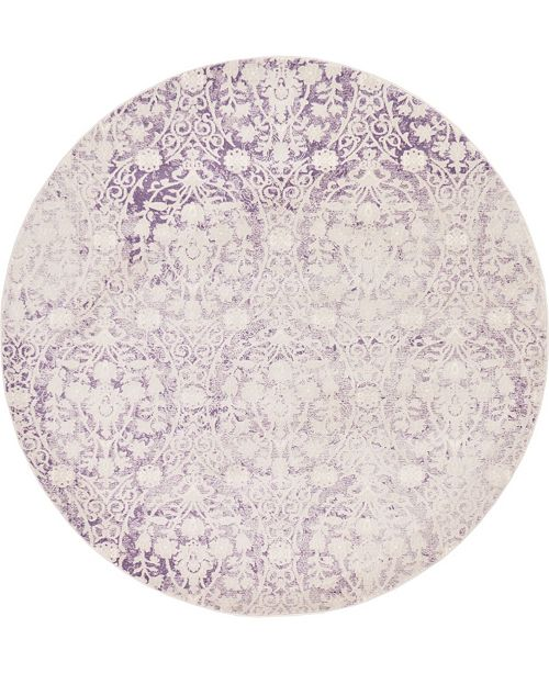 Bridgeport Home Norston Nor5 Purple 6' x 6' Round Area Rug