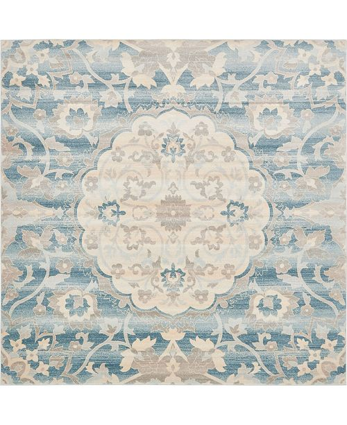Bridgeport Home Caan Can8 Blue 8' x 8' Square Area Rug