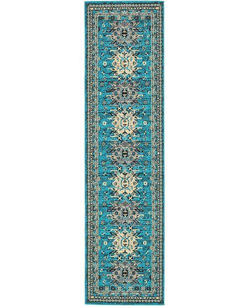 "Bridgeport Home Charvi Chr1 Turquoise 2' 7"" x 10' Runner Area Rug"