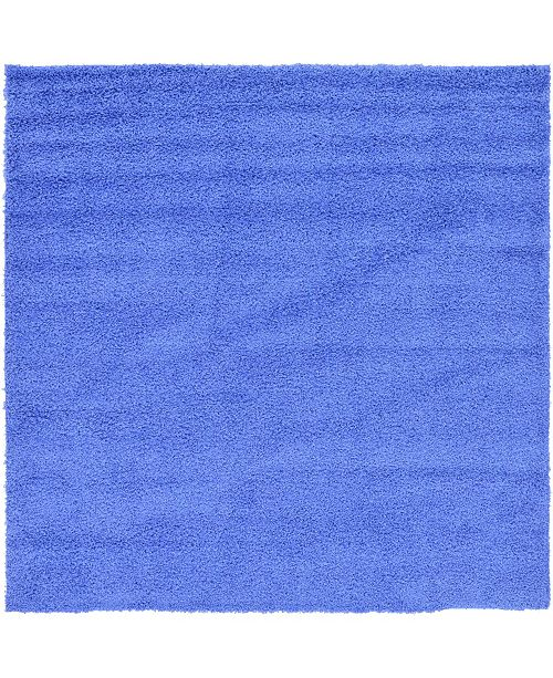 "Bridgeport Home Exact Shag Exs1 Periwinkle Blue 8' 2"" x 8' 2"" Square Area Rug"