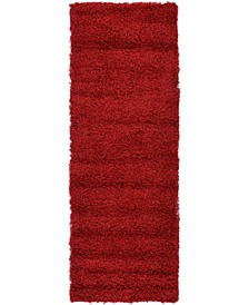 "Exact Shag Exs1 Cherry Red 2' 2"" x 6' 5"" Runner Area Rug"