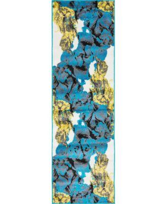 "Politan Pol9 Turquoise 2' x 6' 7"" Runner Area Rug"