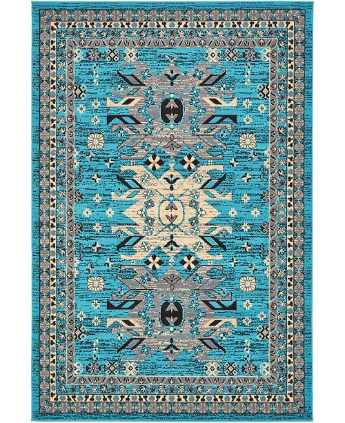 Bridgeport Home Charvi Chr1 Turquoise 6' x 9' Area Rug