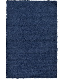 Bridgeport Home Exact Shag Exs1 Navy Blue 5' x 8' Area Rug