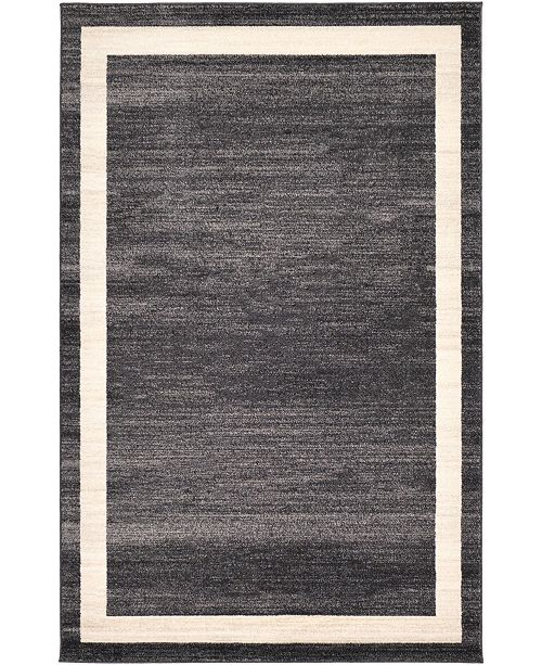 Bridgeport Home Lyon Lyo5 Black 5' x 8' Area Rug