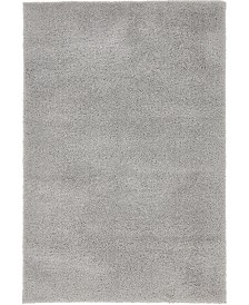 Bridgeport Home Salon Solid Shag Sss1 Light Gray 4' x 6' Area Rug