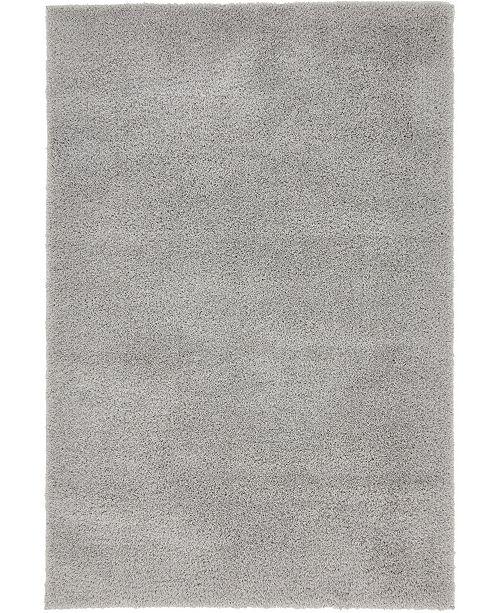 Bridgeport Home Salon Solid Shag Sss1 Light Gray 4' x 6' Area Rug