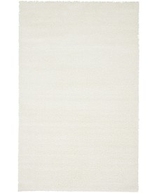 Salon Solid Shag Sss1 White 5' x 8' Area Rug