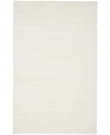 Bridgeport Home Salon Solid Shag Sss1 White 5' x 8' Area Rug