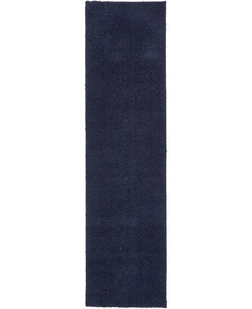 "Bridgeport Home Salon Solid Shag Sss1 Midnight Blue 2' 7"" x 10' Runner Area Rug"