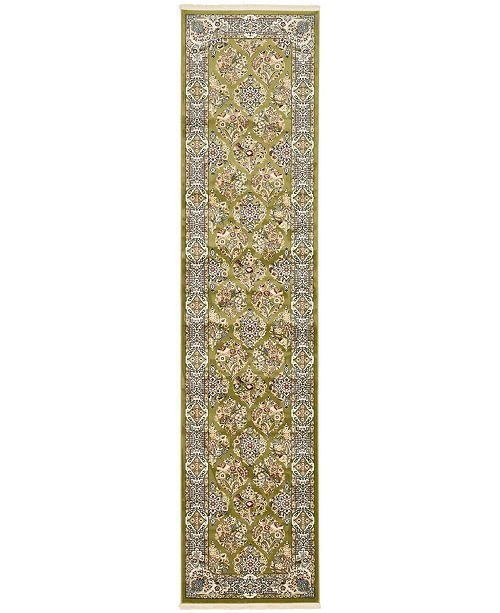 Bridgeport Home Zara Zar6 Green 3' x 13' Runner Area Rug